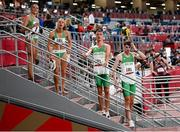 30 July 2021; The Ireland 4x400 mixed relay team, from left, Phil Healy, Sophie Becker, Christopher O'Donnell and Cillin Greene after their heat of the 4x400 metre mixed relay at the Olympic Stadium during the 2020 Tokyo Summer Olympic Games in Tokyo, Japan. Photo by Stephen McCarthy/Sportsfile