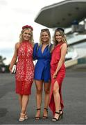 30 July 2021; Racegoers, from left, Eimear Donovan, Paula Duffy and Katie Buckley from Listowel, Co Kerry on day five of the Galway Races Summer Festival at Ballybrit Racecourse in Galway. Photo by David Fitzgerald/Sportsfile