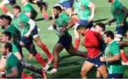 30 July 2021; Bundee Aki, centre, of British and Irish Lions runs with his team-mates during the British & Irish Lions Captain's Run at Cape Town Stadium in Cape Town, South Africa. Photo by Ashley Vlotman/Sportsfile