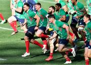 30 July 2021; Jack Conan, left, of British and Irish Lions warms up with his team-mates during the British & Irish Lions Captain's Run at Cape Town Stadium in Cape Town, South Africa. Photo by Ashley Vlotman/Sportsfile