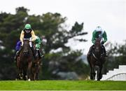 30 July 2021; Jazzaway, with Conor McNamara up, right, on their way to winning the Guinness handicap hurdle alongside eventual second Western Victory, with Shane Fitzgerald up, during day five of the Galway Races Summer Festival at Ballybrit Racecourse in Galway. Photo by David Fitzgerald/Sportsfile