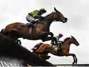 30 July 2021; Born By The Sea, with Jack Gilligan up, right, jumps alongside Shady Operator, with Darragh O'Keeffe up, on their way to winning the Guinness Galway Blazers steeplechase on day five of the Galway Races Summer Festival at Ballybrit Racecourse in Galway. Photo by David Fitzgerald/Sportsfile