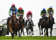 30 July 2021; Jack Gilligan celebrates on Born By The Sea, left, after winning the Guinness Galway Blazers steeplechase on day five of the Galway Races Summer Festival at Ballybrit Racecourse in Galway. Photo by David Fitzgerald/Sportsfile