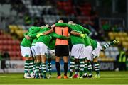 30 July 2021; Shamrock Rovers players huddle before the SSE Airtricity League Premier Division match between Shamrock Rovers and St Patrick's Athletic at Tallaght Stadium in Dublin. Photo by Eóin Noonan/Sportsfile