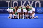 31 July 2021; Ireland players form a huddle before the women's pool A group stage match between Great Britain and Ireland at the Oi Hockey Stadium during the 2020 Tokyo Summer Olympic Games in Tokyo, Japan. Photo by Stephen McCarthy/Sportsfile