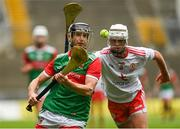 31 July 2021; Keith Higgins of Mayo in action against Sean Paul McKernan of Tyrone during the Nicky Rackard Cup Final match between Tyrone and Mayo at Croke Park in Dublin.  Photo by Harry Murphy/Sportsfile