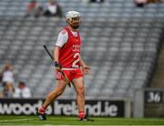 31 July 2021; CJ McGourty of Tyrone takes up position as goalkeeper after Tyrone goalkeeper Conor McElhatton received a yellow card during the Nickey Rackard Cup Final match between Tyrone and Mayo at Croke Park in Dublin.  Photo by Ray McManus/Sportsfile