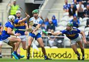 31 July 2021; Michawl Kiely of Waterford has a shot on goal blocked by Padraic Maher of Tipperary during the GAA Hurling All-Ireland Senior Championship Quarter-Final match between Tipperary and Waterford at Pairc Ui Chaoimh in Cork. Photo by Eóin Noonan/Sportsfile