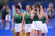 31 July 2021; Deirdre Duke, right, and Katie Mullan of Ireland after their side's defeat to Great Britain in their women's pool A group stage match at the Oi Hockey Stadium during the 2020 Tokyo Summer Olympic Games in Tokyo, Japan. Photo by Stephen McCarthy/Sportsfile