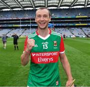 31 July 2021; Mayo captain Keith Higgins celebrates after the Nicky Rackard Cup Final match between Tyrone and Mayo at Croke Park in Dublin.  Photo by Ray McManus/Sportsfile