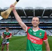 31 July 2021; Keith Higgins of Mayo celebrates after the Nicky Rackard Cup Final match between Tyrone and Mayo at Croke Park in Dublin.  Photo by Harry Murphy/Sportsfile
