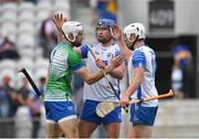 31 July 2021; Shaun O'Brien, left, Conor Prunty, and Shane Bennett of Waterford celebrate after the GAA Hurling All-Ireland Senior Championship Quarter-Final match between Tipperary and Waterford at Pairc Ui Chaoimh in Cork. Photo by Daire Brennan/Sportsfile