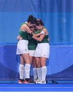 31 July 2021; Ireland players, from left, Hannah McLoughlin, Shirley McCay and Lizzie Holden after their women's pool A group stage match against Great Britain at the Oi Hockey Stadium during the 2020 Tokyo Summer Olympic Games in Tokyo, Japan. Photo by Stephen McCarthy/Sportsfile