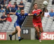 31 July 2021; Michael McKernan of Tyrone in action against Micheál Bannigan of Monaghan during the Ulster GAA Football Senior Championship Final match between Monaghan and Tyrone at Croke Park in Dublin. Photo by Harry Murphy/Sportsfile