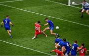 31 July 2021; Conor McKenna of Tyrone has a shot on goal despite the efforts of Ryan Wylie of Monaghan during the Ulster GAA Football Senior Championship Final match between Monaghan and Tyrone at Croke Park in Dublin. Photo by Sam Barnes/Sportsfile