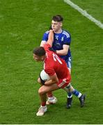 31 July 2021; Michael McKernan of Tyrone in action against Stephen O'Hanlon of Monaghan during the Ulster GAA Football Senior Championship Final match between Monaghan and Tyrone at Croke Park in Dublin. Photo by Sam Barnes/Sportsfile