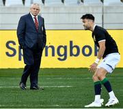 31 July 2021; British and Irish Lions head coach Warren Gatland watches on as Conor Murray warms up before the second test of the British and Irish Lions tour match between South Africa and British and Irish Lions at Cape Town Stadium in Cape Town, South Africa. Photo by Ashley Vlotman/Sportsfile
