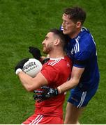31 July 2021; Pádraig Hampsey of Tyrone in action against Conor McManus of Monaghan during the Ulster GAA Football Senior Championship Final match between Monaghan and Tyrone at Croke Park in Dublin. Photo by Sam Barnes/Sportsfile