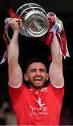 31 July 2021; The Tyrone captain Pádraig Hampsey lifts the Anglo Celt Cup after the Ulster GAA Football Senior Championship Final match between Monaghan and Tyrone at Croke Park in Dublin. Photo by Ray McManus/Sportsfile
