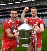 31 July 2021; Darren McCurry, left, and Cathal McShane of Tyrone celebrate with the Anglo Celt Cup after the Ulster GAA Football Senior Championship Final match between Monaghan and Tyrone at Croke Park in Dublin. Photo by Harry Murphy/Sportsfile