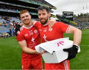 31 July 2021; Man of the match Matthew Donnelly and his Tyrone team-mate Cathal McShane celebrate after the Ulster GAA Football Senior Championship Final match between Monaghan and Tyrone at Croke Park in Dublin. Photo by Ray McManus/Sportsfile