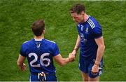 31 July 2021; Conor McManus of Monaghan, right, shakes hands with team-mate Dermot Malone as he leaves the field dejected after his side's defeat in the the Ulster GAA Football Senior Championship Final match between Monaghan and Tyrone at Croke Park in Dublin. Photo by Sam Barnes/Sportsfile