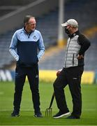 31 July 2021; Dublin manager Mattie Kenny, left, speaks with groundsman Padhraic Greene prior to the GAA Hurling All-Ireland Senior Championship Quarter-Final match between Dublin and Cork at Semple Stadium in Thurles, Tipperary. Photo by David Fitzgerald/Sportsfile