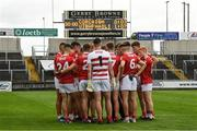 31 July 2021; Cork players on the pitch at half time during the 2021 EirGrid GAA All-Ireland Football U20 Championship Semi-Final match between Cork and Offaly at MW Hire O'Moore Park in Portlaoise, Laois. Photo by Matt Browne/Sportsfile
