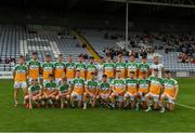 31 July 2021; The Offaly squad before the 2021 EirGrid GAA All-Ireland Football U20 Championship Semi-Final match between Cork and Offaly at MW Hire O'Moore Park in Portlaoise, Laois. Photo by Matt Browne/Sportsfile