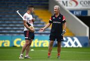 31 July 2021; Cork manager Kieran Kingston speaks with Patrick Horgan prior to the GAA Hurling All-Ireland Senior Championship Quarter-Final match between Dublin and Cork at Semple Stadium in Thurles, Tipperary. Photo by David Fitzgerald/Sportsfile