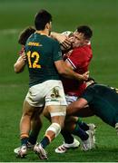 31 July 2021; Jack Conan of British and Irish Lions is tackled by Damian de Allende of South Africa during the second test of the British and Irish Lions tour match between South Africa and British and Irish Lions at Cape Town Stadium in Cape Town, South Africa. Photo by Ashley Vlotman/Sportsfile