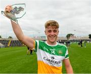 31 July 2021; Man of the Match Jack Bryant of Offaly celebrates after the 2021 EirGrid GAA All-Ireland Football U20 Championship Semi-Final match between Cork and Offaly at MW Hire O'Moore Park in Portlaoise, Laois. Photo by Matt Browne/Sportsfile