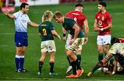 31 July 2021; Referee Ben O'Keeffe awards South Africa a penalty as Pieter Steph du Toit of South Africa and Conor Murray of British and Irish Lions react during the second test of the British and Irish Lions tour match between South Africa and British and Irish Lions at Cape Town Stadium in Cape Town, South Africa. Photo by Ashley Vlotman/Sportsfile
