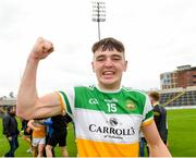31 July 2021; Aaron Kellaghan of Offaly celebrates after the 2021 EirGrid GAA All-Ireland Football U20 Championship Semi-Final match between Cork and Offaly at MW Hire O'Moore Park in Portlaoise, Laois. Photo by Matt Browne/Sportsfile