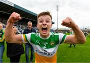 31 July 2021; Aaron Brazil of Offaly celebrates after the 2021 EirGrid GAA All-Ireland Football U20 Championship Semi-Final match between Cork and Offaly at MW Hire O'Moore Park in Portlaoise, Laois. Photo by Matt Browne/Sportsfile