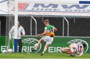 31 July 2021; Jack Bryant of Offaly scores the fourth goal past Cork goalkeeper Gavin Creedon during the 2021 EirGrid GAA All-Ireland Football U20 Championship Semi-Final match between Cork and Offaly at MW Hire O'Moore Park in Portlaoise, Laois. Photo by Matt Browne/Sportsfile