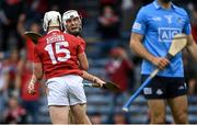 31 July 2021; Tim O'Mahony of Cork, behind, celebrates with team-mate Patrick Horgan after scoring his side's first goal during the GAA Hurling All-Ireland Senior Championship Quarter-Final match between Dublin and Cork at Semple Stadium in Thurles, Tipperary. Photo by Piaras Ó Mídheach/Sportsfile