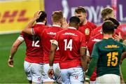 31 July 2021; Robbie Henshaw of British and Irish Lions, left, and team-mates celebrate a try which is subsequently disallowed during the second test of the British and Irish Lions tour match between South Africa and British and Irish Lions at Cape Town Stadium in Cape Town, South Africa. Photo by Ashley Vlotman/Sportsfile
