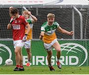 31 July 2021; Jack Bryant of Offaly celebrates after scoring the fourth goal against Cork during the 2021 EirGrid GAA All-Ireland Football U20 Championship Semi-Final match between Cork and Offaly at MW Hire O'Moore Park in Portlaoise, Laois. Photo by Matt Browne/Sportsfile