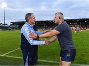 31 July 2021; Dublin manager Mattie Kenny, left, with Cork selector Diarmuid O'Sullivan after the GAA Hurling All-Ireland Senior Championship Quarter-Final match between Dublin and Cork at Semple Stadium in Thurles, Tipperary. Photo by Piaras Ó Mídheach/Sportsfile