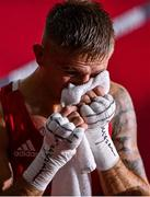 1 August 2021; Kurt Walker of Ireland after his men's featherweight quarter-final bout with Duke Ragan of USA at the Kokugikan Arena during the 2020 Tokyo Summer Olympic Games in Tokyo, Japan. Photo by Brendan Moran/Sportsfile