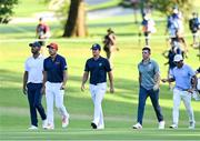 1 August 2021; Bronze Medal play-off players, from left, Juan Sebastián Muñoz of Colombia, Collin Morikawa of USA, Mito Pereira of Chile, Rory McIlroy of Ireland and CT Pan of Chinese Taipei during the bronze medal play-off in round 4 of the men's individual stroke play at the Kasumigaseki Country Club during the 2020 Tokyo Summer Olympic Games in Kawagoe, Saitama, Japan. Photo by Ramsey Cardy/Sportsfile