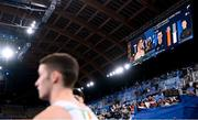 1 August 2021; Rhys McClenaghan of Ireland's score is seen on the big screen compared to gold medal winner Max Whitlock of Great Britain during the men's pommel horse final at the Ariake Gymnastics Centre during the 2020 Tokyo Summer Olympic Games in Tokyo, Japan. Photo by Stephen McCarthy/Sportsfile