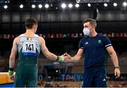 1 August 2021; Rhys McClenaghan of Ireland with national gymnastics coach Luke Carson before the men's pommel horse final at the Ariake Gymnastics Centre during the 2020 Tokyo Summer Olympic Games in Tokyo, Japan. Photo by Stephen McCarthy/Sportsfile