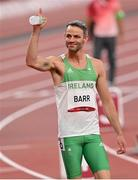 1 August 2021; Thomas Barr of Ireland before his semifinal of the men's 400 metres hurdles at the Olympic Stadium on day nine of the 2020 Tokyo Summer Olympic Games in Tokyo, Japan. Photo by Ramsey Cardy/Sportsfile
