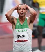 1 August 2021; Thomas Barr of Ireland reacts after finishing fourth in his semifinal of the men's 400 metres hurdles at the Olympic Stadium on day nine of the 2020 Tokyo Summer Olympic Games in Tokyo, Japan. Photo by Ramsey Cardy/Sportsfile