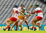 1 August 2021; Eoghan Cahill of Offaly in action against Brian McGilligan, 5, Meehaul McGrath and full back Seán Cassidy of Derry during the Leinster GAA Football Senior Championship Final match between Dublin and Kildare at Croke Park in Dublin. Photo by Ray McManus/Sportsfile