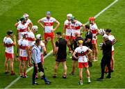 1 August 2021; The Derry team huddle ahead of the Christy Ring Cup Final match between Derry and Offaly at Croke Park in Dublin.  Photo by Daire Brennan/Sportsfile