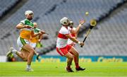 1 August 2021; Cormac O'Doherty of Derry in action against Oisín Kelly of Offaly during the Leinster GAA Football Senior Championship Final match between Dublin and Kildare at Croke Park in Dublin. Photo by Ray McManus/Sportsfile