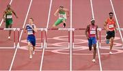 1 August 2021; Thomas Barr of Ireland, centre, in action during his semifinal of the men's 400 metres hurdles at the Olympic Stadium on day nine of the 2020 Tokyo Summer Olympic Games in Tokyo, Japan. Photo by Brendan Moran/Sportsfile